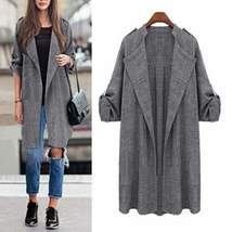 Gray Long Pleated Women Cardigan - $29.00