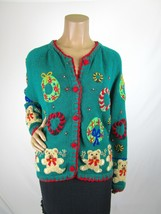 Vintage Segue Christmas Cardigan Sweater Size XL Green Appliqué Teddy Be... - $28.50
