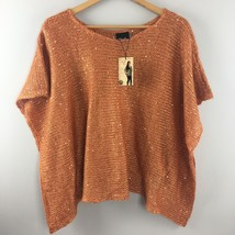 Noelle Sparkle Knit Tunic Orange Draping Top Shirt NWT GG12 - $10.45