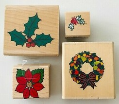 4 Rubber Stamps Christmas Greenery Variety from Rubber Stampede Stampend... - $9.74
