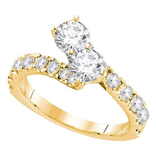 Primary image for The Diamond Deal 14kt Yellow Gold Womens Round Diamond 2-stone Bridal Wedding En