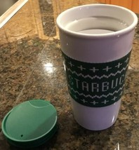 NEW Starbucks  White & Green Ceramic Coffee Cup With Guard Lid Tumbler 2016 - $29.65