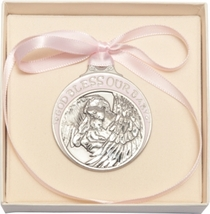 Crib Medal - Pewter Baby w/Angel  with Pink Ribbon - $31.99