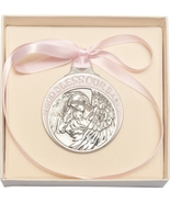 Crib Medal - Pewter Baby w/Angel  with Pink Ribbon - $39.99