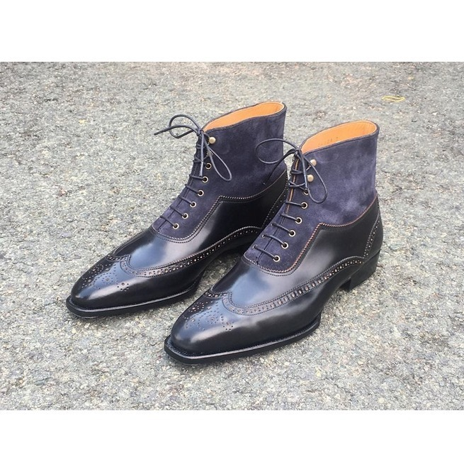 Handmade Men's Black & Blue Wing Tip High Ankle Lace Up Heart Medallion Boots