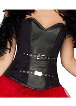 Black Leather Halloween Costume Gothic Steampunk Bustier Overbust Corset Top - $65.16