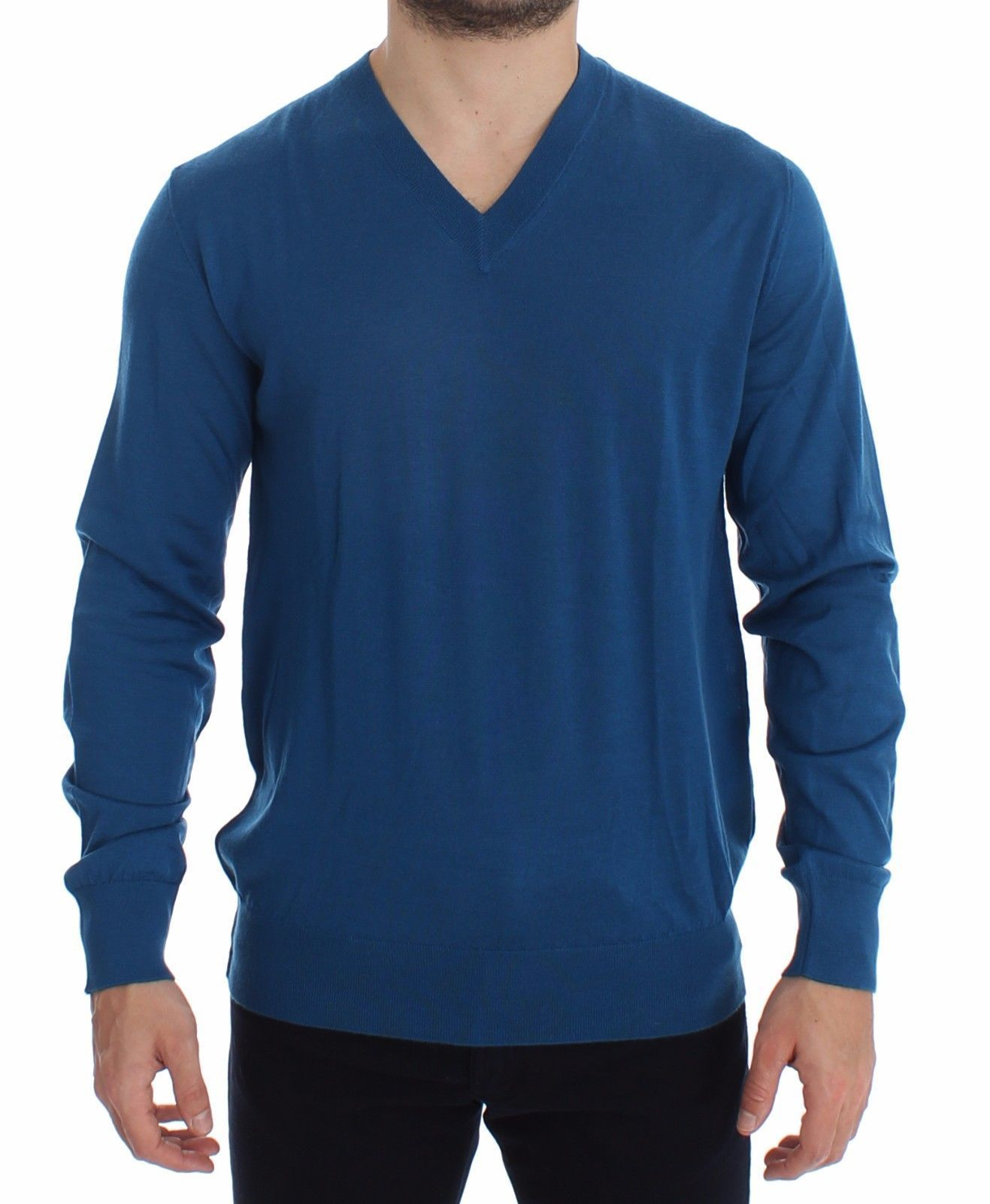 Dolce & Gabbana Blue Cashmere V-neck Sweater Pullover Top 12788
