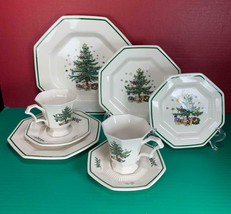 8 pc Nikko Christmastime Christmas Holiday Mixed Lot Set Plates Cups Saucers - $34.64