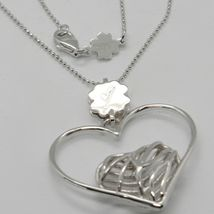 925 STERLING SILVER NECKLACE WORKED HEART FOUR LEAF CLOVER PENDANT, MARIA IELPO image 3