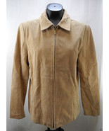 Siena Tan Suede Leather Coat - Zip Front - Women's Lined Jacket - Size L... - $17.05