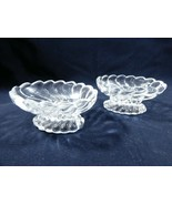 VTG lot of 2  Clear glass footed individual open salt cellar nut sauce bowl - $19.80
