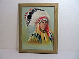 """Indian American native chief portrait oil painting on canvas 19"""" X 15""""  - $120.00"""