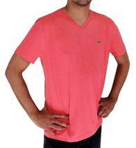 Lacoste Men's Premium Pima Cotton Casual V-Neck Shirt T-Shirt Dahlia Pink image 3