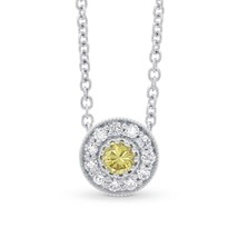 0.22Cts Yellow Diamond Halo Pendant Necklace Set in 18K  White Gold - $2,425.50