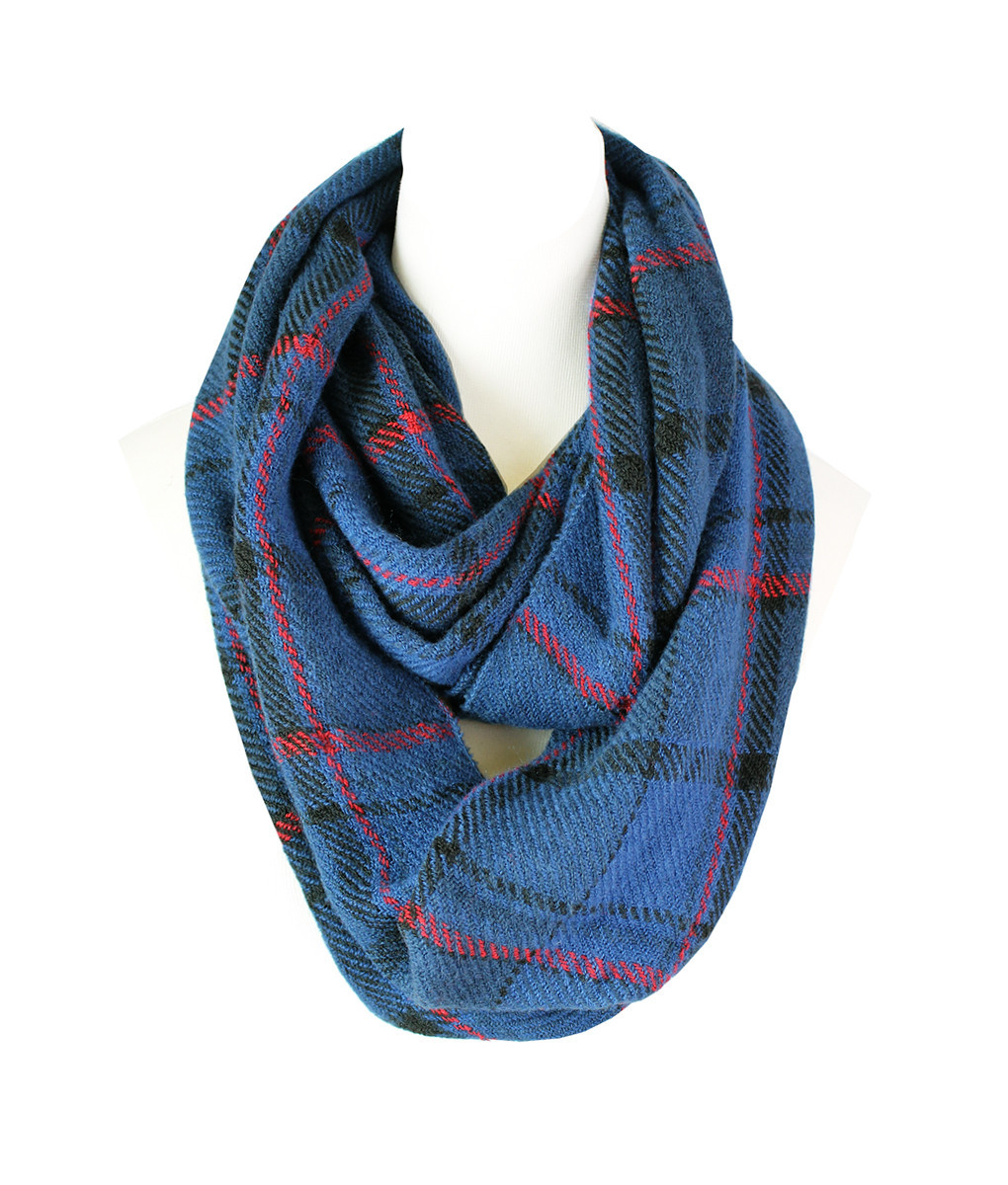 Plaid Knitted Infinity Scarf