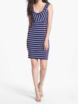 Jessica Simpson Dress Sz L Navy Blue Pink Striped Stretch Bodycon Cockta... - $73.73