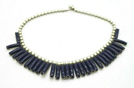 White Blue Acrylic Bead Silver Tone Dangle Choker Necklace Vintage - $19.79