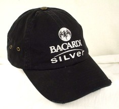 Bacardi Silver Black Baseball Cap Hat Rum Distressed Box Shipped - $25.99