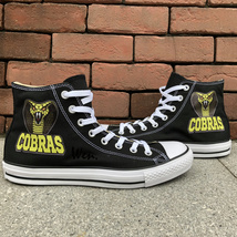 High Top Converse All Star Design Snake Shoes Black Canvas Chuck Taylor Sneakers - $119.00