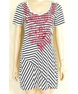 Johnny Was top tunic SZ M mini dress red embroidery cotton black white s... - $49.49