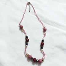Beaded Necklace Handmade Pink Black Mauve G73 - $8.12