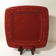 "11"" Dinner Plate Soft Square Longaberger Pottery Woven Traditions Paprika Red - $29.02"