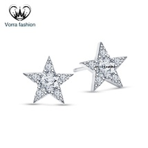 Star Stud Earrings Round Cut Diamond White Gold Plated Pure 925 Sterling Silver - $42.99