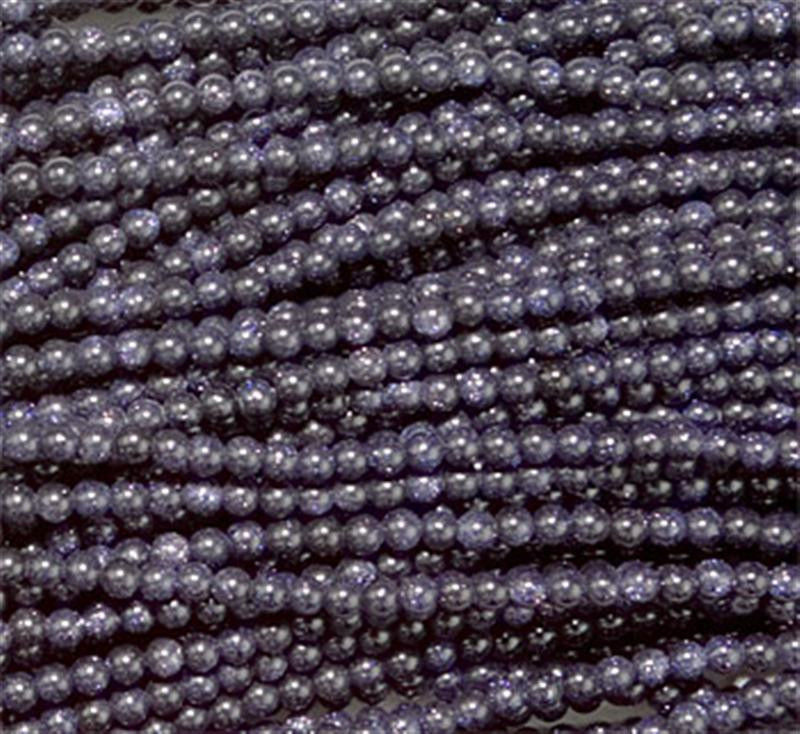 4mm Blue Goldstone Round Beads (100 per strand) Sparkly