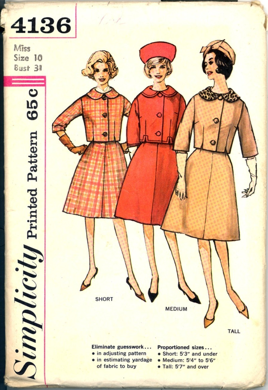New 60s Lined Suit Simplicity 4136 Bust 31 Vintage Sewing Pattern Proportioned Simplicity