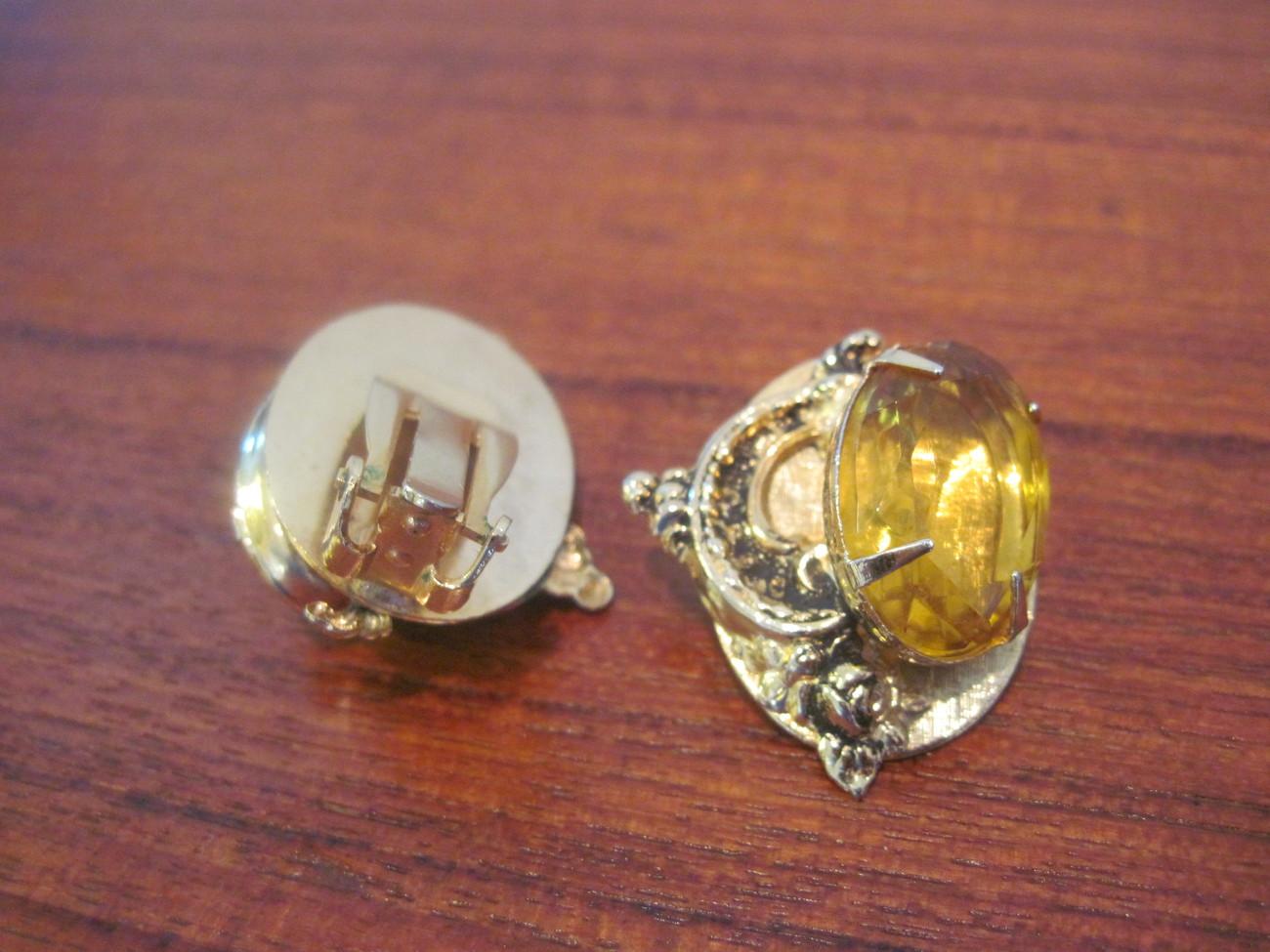 Vintage Faux Topaz Clip Earrings