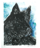 Schipperke Dog Art Monotype Hand Pulled Print Solomon - $48.00