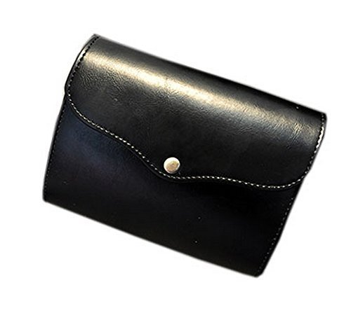 Concise Black Leather Mini Satchel for Women