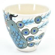 Ceramic Hand Painted Peacock Design Espresso Cup Mug Handmade Guatemala image 2