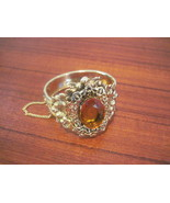 Vintage Costume Jewelry Topaz Gold Filagree Bangle - $26.00
