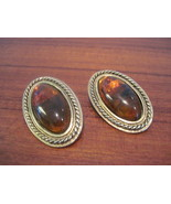 Vintage Smokey Amber Clip Earrings - $22.00