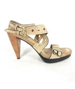 38.5 / 8 US - TOD'S Tods Tan Leather $615 Cut Out Platform Heels EUC 0000MB - $92.00