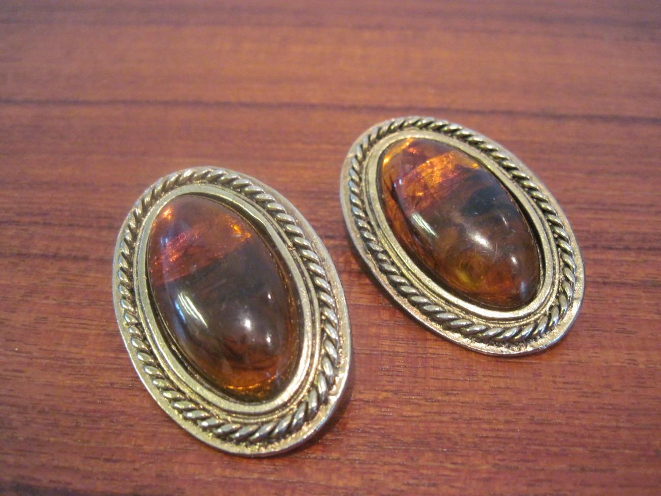 Vintage Smokey Amber Clip Earrings