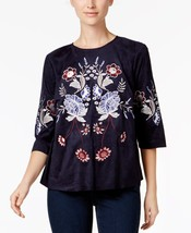 Charter Club Embroidered Faux-Suede Top in Blue, size XL - $29.69