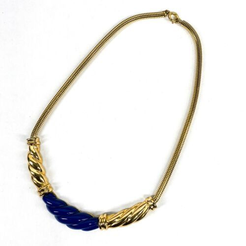 Primary image for CHRISTIAN DIOR Vintage Gold Tone Blue Acrylic Choker Necklace