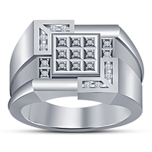 2CTW Diamond Mens Wedding Engagement Ring Band 14k White Gold Finish 925 Silver - £82.69 GBP