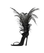 Black Feather Women Party Sandals Ostrich Hair Decor Thin High Heels Fas... - $109.99