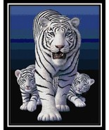 White Tigers animal cross stitch chart Cody Country CrossStitch - $9.00