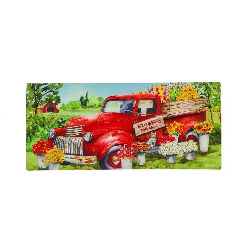 "Primary image for Red Flower Truck Welcome Sassafras Switch Mat   22""x10"" Evergreen Enterprises"