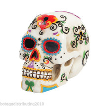 Colorful Day Of The Dead Skull Figurine Dia De Los Muertos Calaca  DOD M... - $27.71