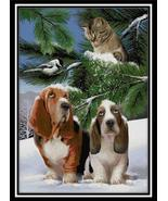 Looking For Trouble dog cat cross stitch chart Cody Country CrossStitch - $9.00