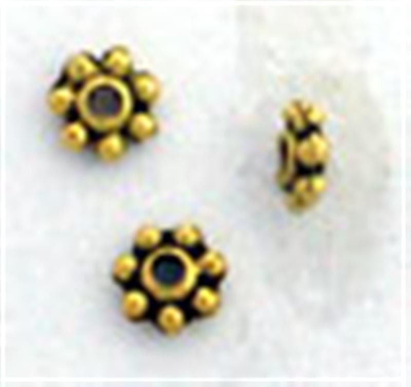 4mm Goldplated Antiqued Pewter Daisy Spacers (100)
