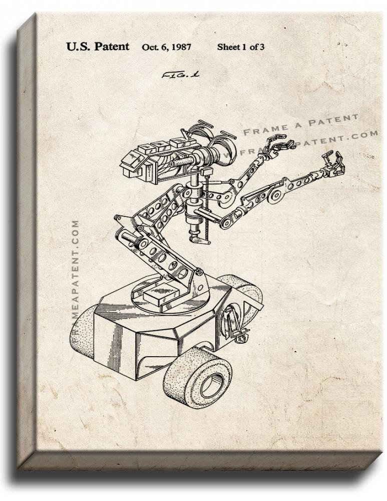 Primary image for Short Circuit Movie Number 5 Robot Patent Print Old Look on Canvas