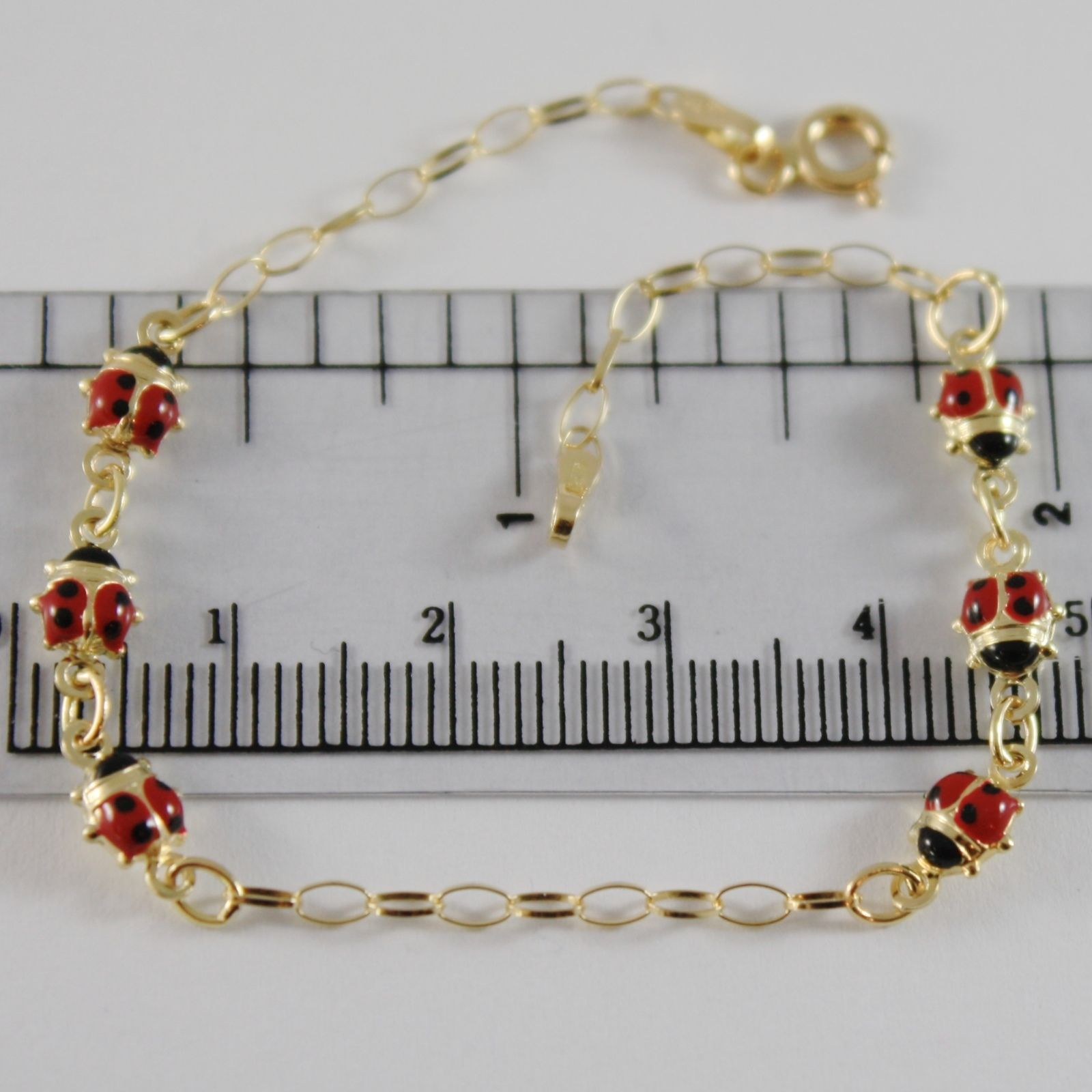 18K YELLOW GOLD GIRL BRACELET 6.70 GLAZED LADYBIRD LADYBUG ENAMEL, MADE IN ITALY