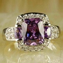 2.50Ct Cushion Cut Amethyst Diamond Halo Engagement Ring 14K White Gold ... - $97.42