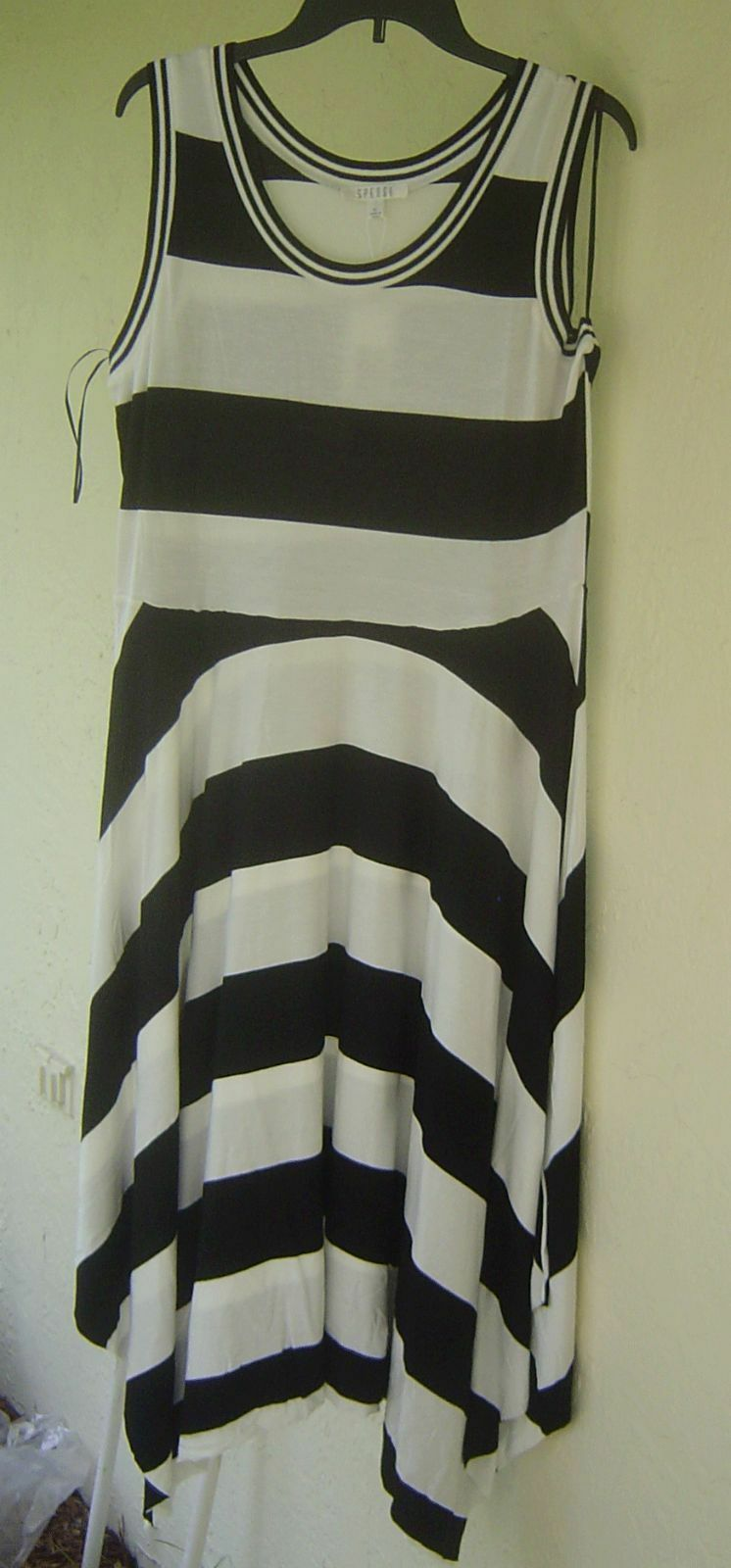 NWT SPENSE WHITE BLACK STRIPES VISCOSE MAXI DRESS SIZE L SIZE XL $80